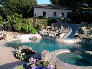 The beautiful waterfall pool is a sophisticated centerpiece