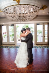Under the Hotel Del chandelier - perfect setting for a first dance