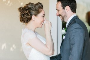 First look: it's always fun when the couple has a special moment before the ceremony. Photo by Katie Jackson