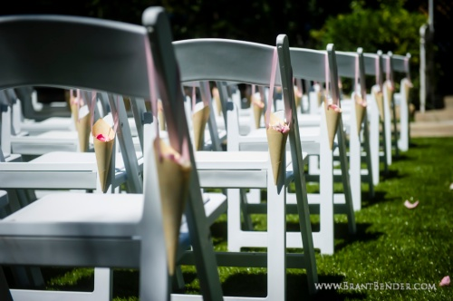 Karolina and Robert provided beautiful pink rose petals on all the aisle seats.