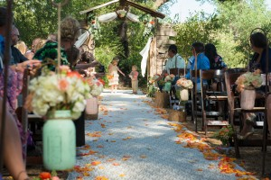The doors for the aisle entrance were magical! at Hidden Oaks in Ramona. Photo by Mr. and Mrs. Photography