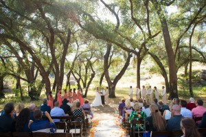 Let Nature embrace your ceremony. With this simple approach there are no distractions and the wedding party created a beautiful boundary. Photo by Mr. and Mrs. Photography